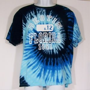 Destin Florida Blue Swirl Tie Dyed T Shirt